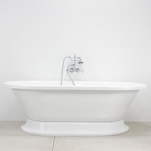 Double Walled CoreAcryl Acrylic Extra Large Double Ended Pedestal Bath Tub & Faucet Pack, Chrome Fixtures (Double Ended Bathtub)