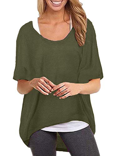 - ZANZEA Women's Batwing Short Sleeve Off Shoulder Loose Oversized Baggy Tops Sweater Pullover Casual Blouse T-Shirt Army Green S