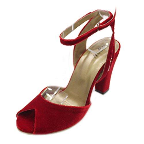 Wear & Walk UK - Sandalias de vestir de Terciopelo para mujer Rojo - rojo
