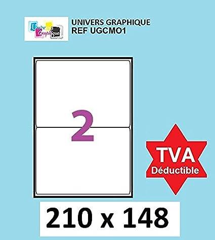 250 A4 hoja 2 pegatina 210 x 148 mm adhesivo de la etiqueta ...