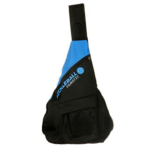Pickleball Fanatic Sling Bag with Pockets for Paddles, Balls, Gear, and Water Bottle(Blue/Black)