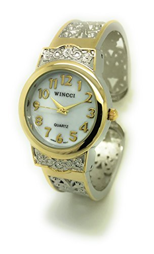 Ladies Elegant Metal Bangle Cuff Fashion Watch Pearl Dial Wincci (two tone) (Cuff Two Tone)