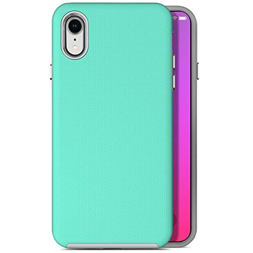 Coolwee Shock Absorption iPhone xr Case Slim Fit Hybrid 2 Layers Case Green Silicone Gel Rubber Case for Women Girls Men 10r Cushion Protective Case Cover for Apple iPhone xr 6.1 inch - Mint Green
