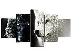 Yatsen Bridge 5 Panel Wolf Artwork Canvas Home Wall Decor