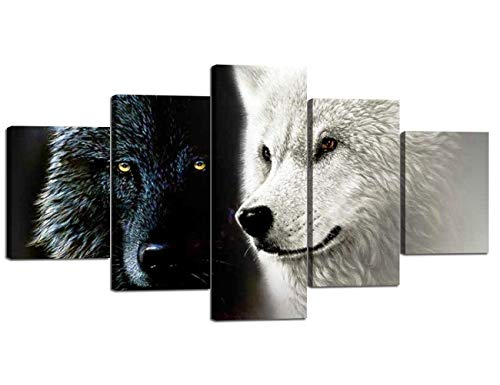 Modern Canvas Painting Wall Art 5 Piece White and Black Wolves Animal Prints on Canvas Giclee Artwork Stretched with Wooden Frame Ready to Hang for Home and Office Decoration - 60''W x 32''H