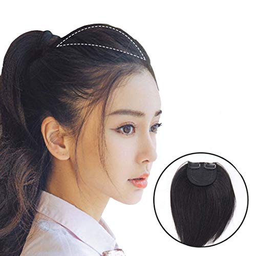 Moreal 100% Real Human Hair One Piece Clip in Hair Extensions Wiglets for Women Thinning Hair Natural Black