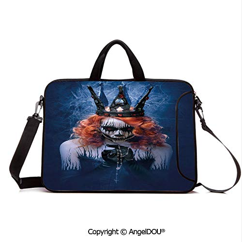 AngelDOU Waterproof Laptop Sleeve Bag Neoprene Carrying Case with Handle & Strap Queen of Death Scary Body Art Halloween Evil Face Bizarre Make Up Zombie for Women &Men Work Home Office Navy Blue Or -