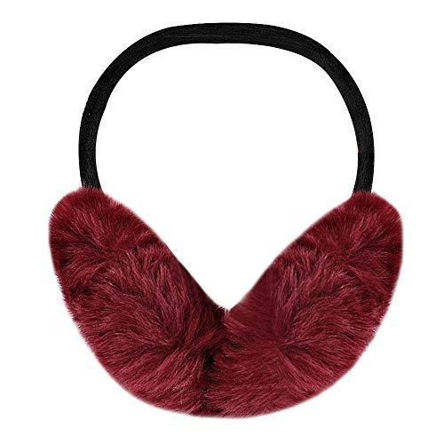 CLARA Unisex Winter Warm Faux Fur Earmuffs Foldable Plush Fluffy Ear Warmer Wine Red