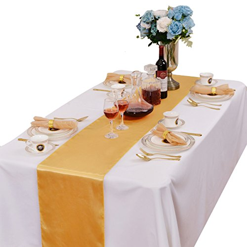 LOVWY Pack of 20 Satin Table Runner 12 x 108 Inch for Wedding Party Engagement Event Birthday Graduation Banquet Decoration (Colors Optional) (Golden)