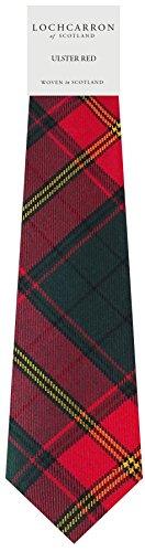 Clan Tie Ulster Red Irish Tartan Pure Wool Scottish Handmade Necktie