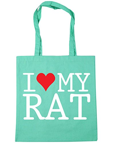 HippoWarehouse I Love My Rat Tote Shopping Gym Beach Bag 42cm x38cm, 10 litres
