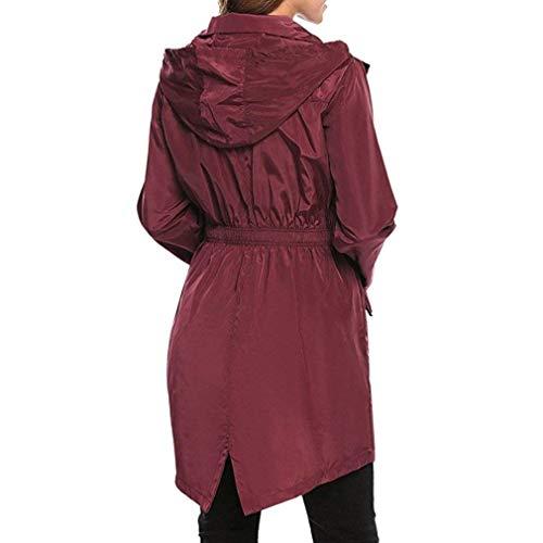 Anteriori Cerniera Pioggia Con Coulisse Tasche Donne Elegante Raincoat Moda Autunno Monocromo Antipioggia Antivento Casuale Lunga Cappuccio Winered Bavero Invernali Giacca Manica Donna xwU6gCwq