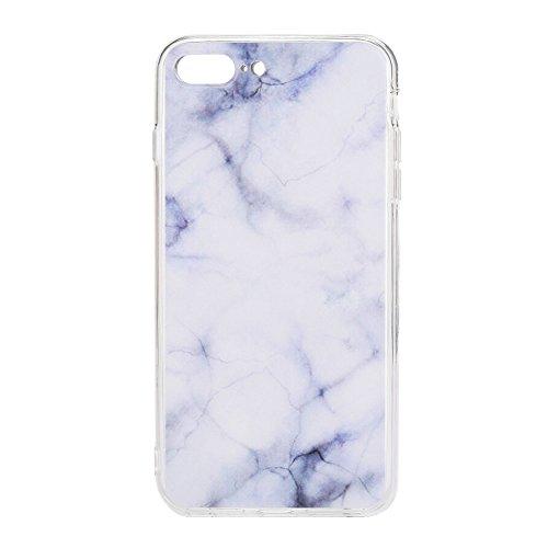 Hanbaili Marble iPhone 8 Plus / 7 Plus Funda, Full Printing IMD, Funda de parachoques TPU delgada y flexible para iPhone de 5,5 pulgadas, Anti-Scratch, Anti-Fingerprint, Blanco + Sangre Hielo