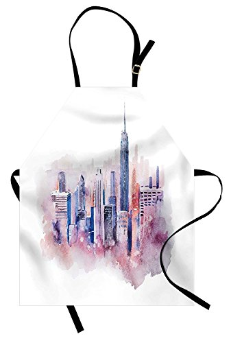 (New York Apron, Skyscrapers Soaring Above the Puffy Lullaby Clouds Aquarelle Painting Style Design, Unisex Kitchen Bib Apron with Adjustable Neck for Cooking Baking Gardening, Multicolor)