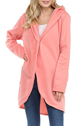 GUVU Womens Soft Fabric Oversized Open Front Hoodie Pancho Cardigan Sweater (Pink, XLarge) (Pink Hooded Cardigan)