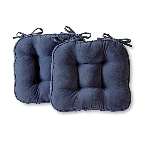 Greendale Home Fashions Chair Cushion Hyatt Solid, Denim, Set of 2 (Denim Blue Cushion)