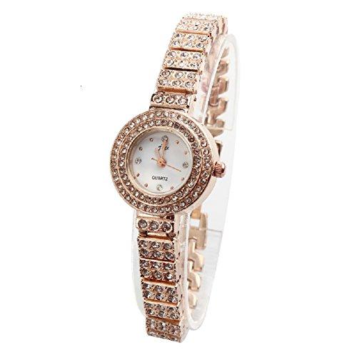 Women's Ladies Girls Quartz Watch with Round Dial and Bracelet Strap Diamond Bangle Wristwatch