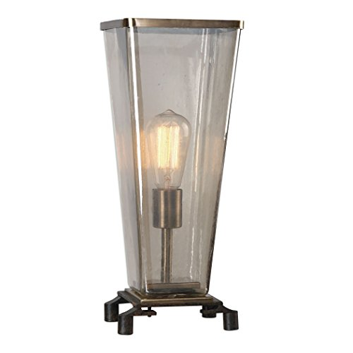 Antique Style Art Deco Hurricane Table Lamp | Glass Shade Edison Bulb