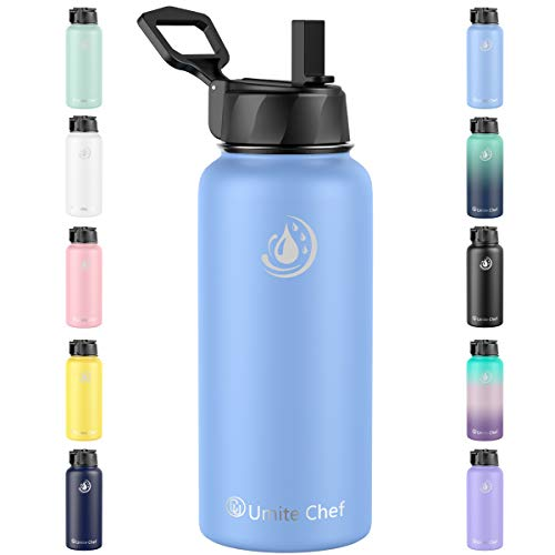 Umite Chef Water Bottle, Vacuum Insulated Wide Mouth Stainless-Steel Sports Water Bottle with New Wide Handle Straw Lid,Hot Cold, Double Walled Thermo Mug