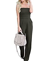 60dfadd8d10 Womens Off The Shoulder Jumpsuit Elegant Strapless Loose Wide Leg Jumpsuit  Rompers
