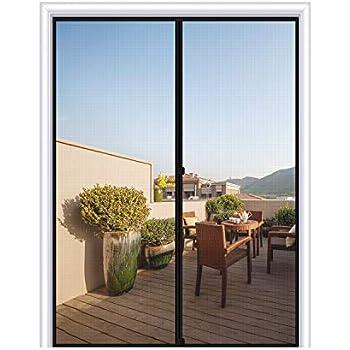 MAGZO Magnetic Screen Door 60 x 80, Reinforced Fiberglass Mesh Curtain Front Door Mesh with Full Frame Hook&Loop Fits Door Size up to 60