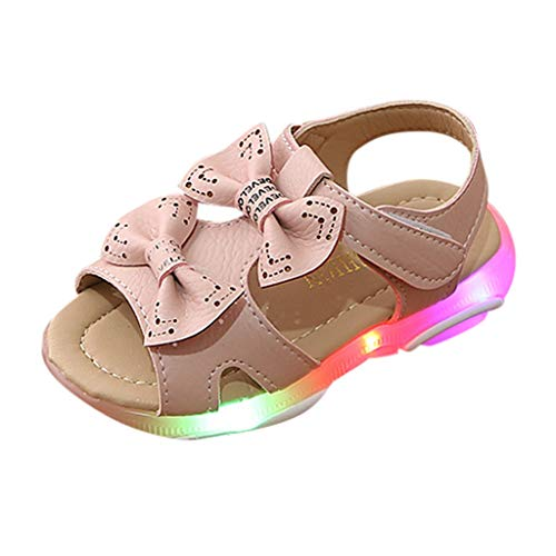 (Tantisy ♣↭♣ Baby Shoes Girls  Summer Children Kids Bowknot Led Light Luminous Sport Sandals Sneaker Shoes Beach Shoes Pink)