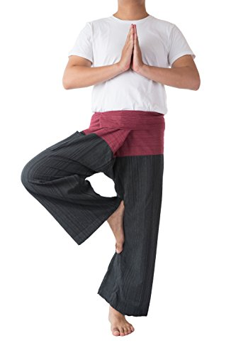 Thai Fisherman Pants Men's Yoga Trousers Red and Black 2 Tone Pant