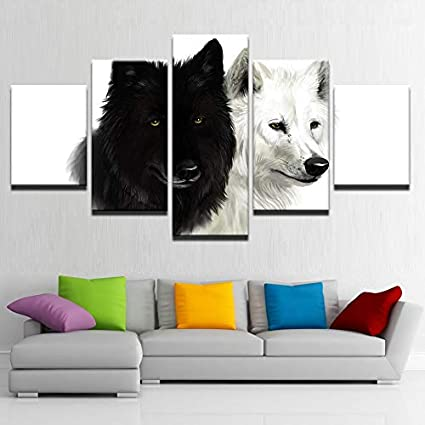 Amazon.com: KLKLDD 5 Pieces Wolf Couple Paintings Black and ...