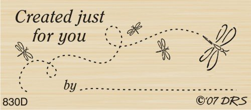 Dragonfly Created for You Rubber Stamp By DRS Designs