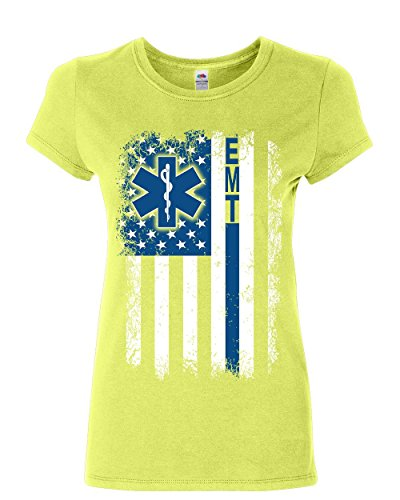 rvice Women's T-Shirt Thin Blue Line EMS EMT Medic Shirt Citrus Green L ()