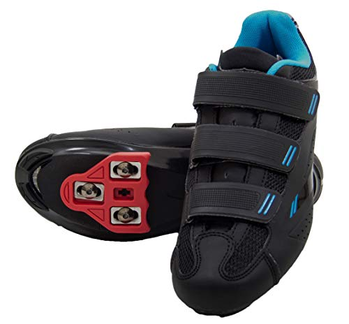 df081e624 tommaso Pista Women s Spin Class Ready Cycling Shoe Bundle - Black Blue - Look  Delta - 42