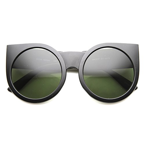zeroUV - Womens Oversized Super Bold Round Cat Eye Sunglasses (Matte-Black - Cat Farrow Sunglasses Linda Eye