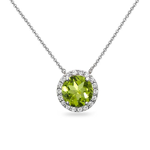 Sterling Silver Peridot and White Topaz Halo Slide Pendant Necklace