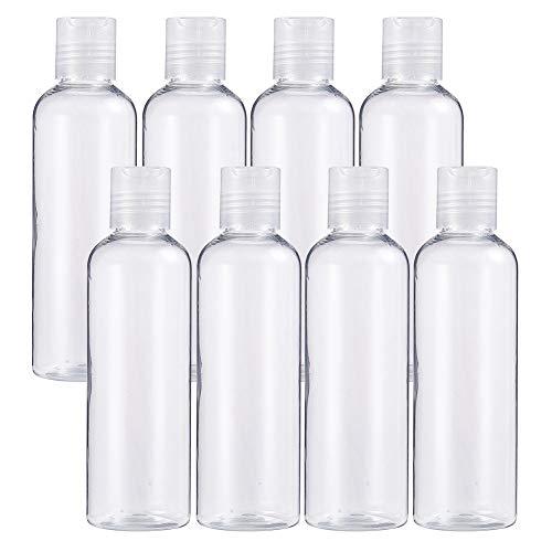 BENECREAT 8 Pack 6.7oz PET Plastic BottlesClear Refillable Bottles with Press Disc Flip Cap for Shampoo, Lotions, Creams