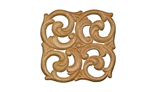 Embossed Wood - Large Embossed Wood Square Decorative Applique in Knotty Pine- 4 3/8