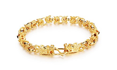 Gold Moonstone Bracelet (Qinggetme Men 18K Gold-Plated Cool Domineering Double Dragon Clasp Bracelet)