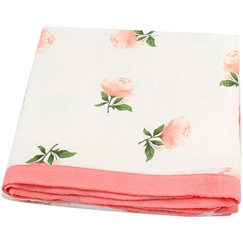 LifeTree Muslin Toddlers Blanket for Baby Girls -Floral Print Bamboo Cotton Stroller Blanket - Large 45 x 45 Perfect Baby Shower Gift