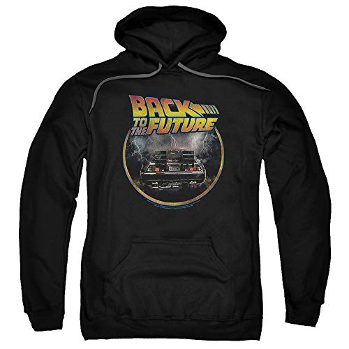 Popfunk Back to The Future Delorean Pullover Hoodie Sweatshirt & Stickers (Large) Black ()