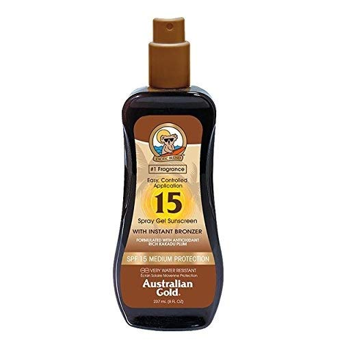 Australian Gold Spray Gel Sunscreen with Instant Bronzer, Moisturize & Hydrate Skin, Broad Spectrum,...