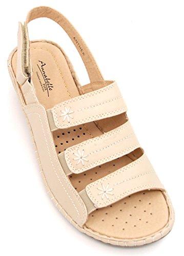 Annabelle Plus Womens/Ladies Anthea Low Wedge Heel Summer Strappy Sling Back Sandal in Beige Or Navy Size 3,4,5,6,7,8 Beige