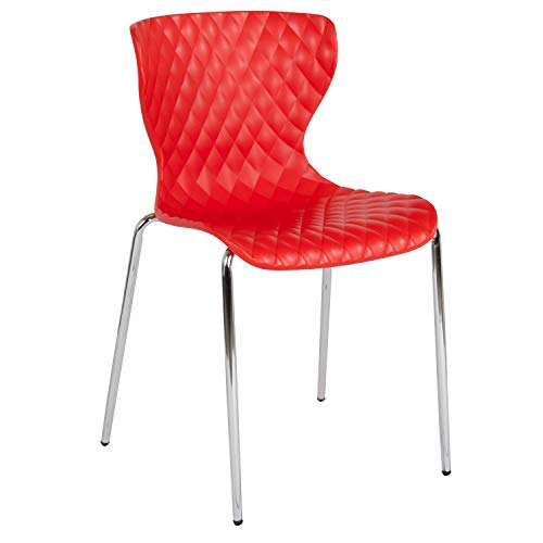 (Flash Furniture Lowell Contemporary Design Red Plastic Stack Chair)