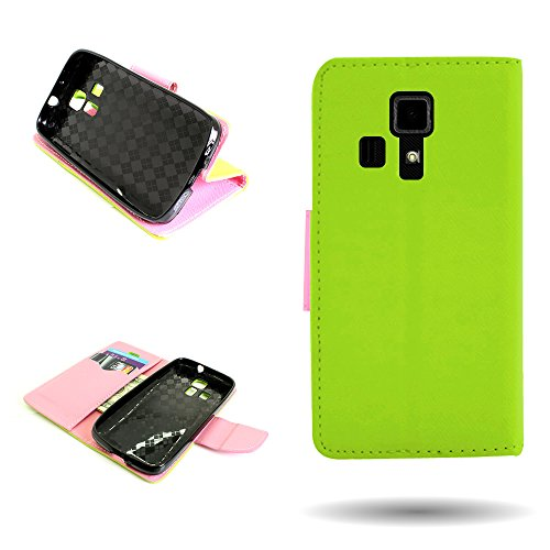 Kyocera Hydro Icon Wallet Phone Case and Screen Protector | CoverON (CarryAll) Pouch Series | Tough Textured Exterior (Neon Green / Light Pink) Flip Stand Cover with Credit Card and Cash Holder Slots for Kyocera Hydro Icon C6730 -  F691-CO-KYC6730-VW1-GR230