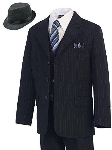 Bello Giovane Boys Pinstripe 5-piece Suit (Free Fedora) (5, Navy) (Pinstripe Tie Navy Suit)