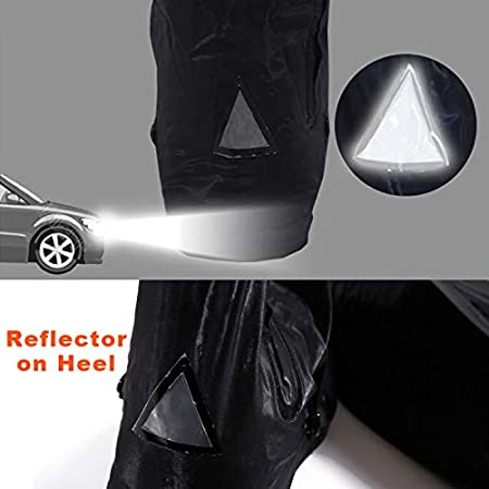 Black Waterproof Rain Boot Shoe Cover with reflector for camping travel hiking outdoor rain days XL-Black winter