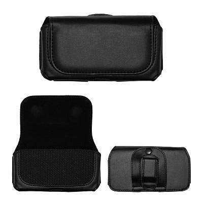 Executive Black Horizontal Leather Side Case Pouch with Belt Clip and Belt Loops for Samsung Rugby II A847 [Accessory Export Brand Packaging] by Unknown
