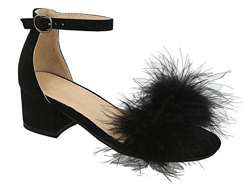 lack Spring Fashion Fur Low Chunky Heel Ankle Strap Buckle Fun Colorful Fuzzy Fancy Fun Casual Comfort Modern Beach Sketcher Sandal Shoe for Sale Youth Little Girl (Size 13, Black) (Fancy Heel)