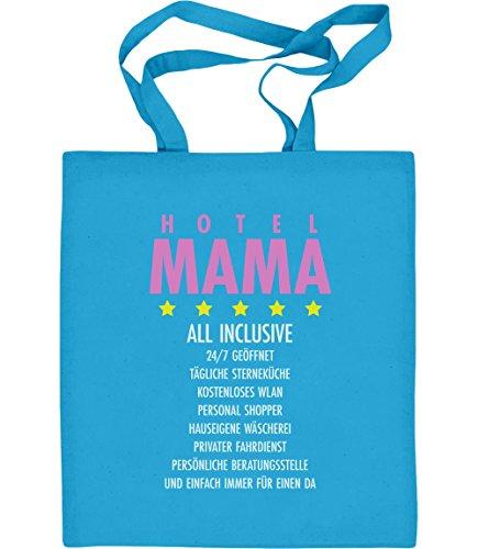 Geschenkidee - Hotel Mama all inclusive Jutebeutel Baumwolltasche Hellblau 47nBqKosmS