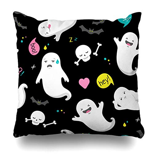 (Pakaku Decorativepillows Case Throw Pillows Covers for Couch/Bed 18 x 18 inch, Cute Ghost Halloween Black Cartoon Happy Holiday Home Sofa Cushion Cover Pillowcase Gift Bed Car Living)