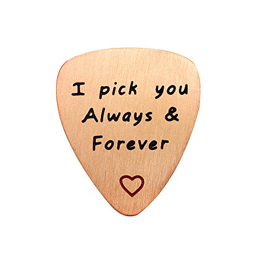 (Best Friend Valentine Guitar Picks Charm Pendant Gift I Pick You Always & Forever Stainless Steel Matte (Rose Gold) )