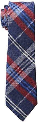 Wembley Men's Caen Plaid Tie, Navy/Red, One (Polyester Plaid Tie)